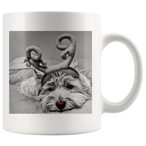 Rudolph the red nosed Westie Photo Mug Drinkware teelaunch 11oz Mug