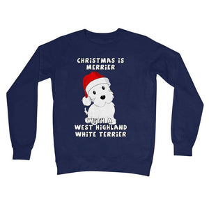 Christmas is Merrier with a West Highland White Terrier Crew Neck Sweatshirt Apparel kite.ly S New French Navy