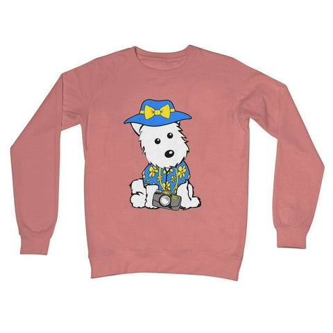 Summer Holiday Westie Crew Neck Sweatshirt Apparel kite.ly S Dusty Pink