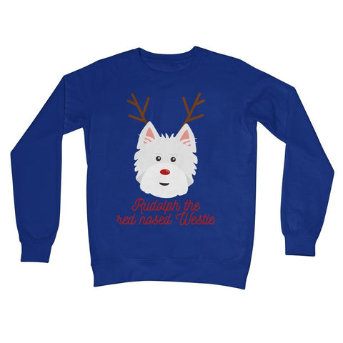 Image of Rudolph the Red nosed Westie Crew Neck Sweatshirt Apparel kite.ly S Royal Blue