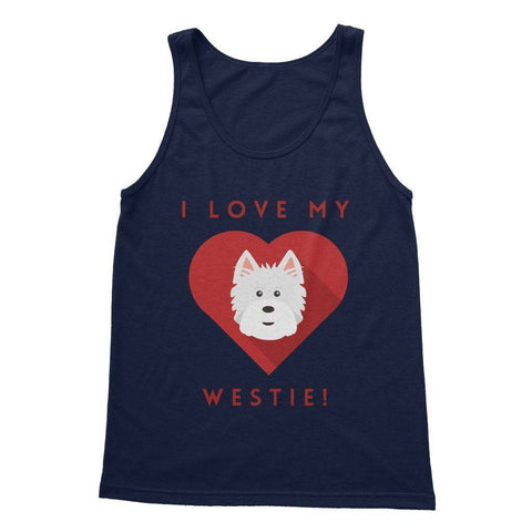 I Love My Westie Heart Softstyle Tank Top Apparel kite.ly S Navy