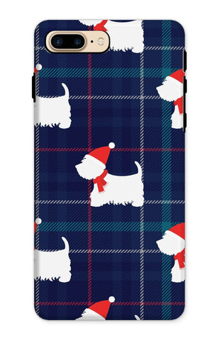 Image of Blue Tartan Westie in a Hat and Scarf Phone Case Phone & Tablet Cases kite.ly iPhone 8 Plus Tough Gloss
