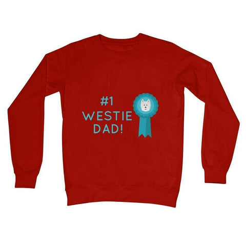 Image of Number 1 Westie Dad Crew Neck Sweatshirt Apparel kite.ly S Fire Red