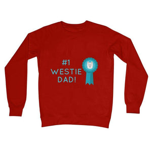 Number 1 Westie Dad Crew Neck Sweatshirt Apparel kite.ly S Fire Red