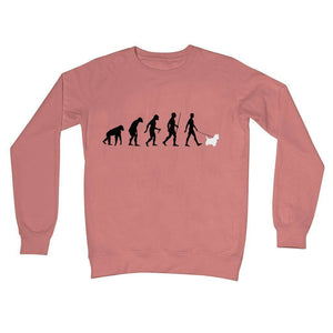 The Evolution Of Man And Westie Crew Neck Sweatshirt Apparel kite.ly S Dusty Pink