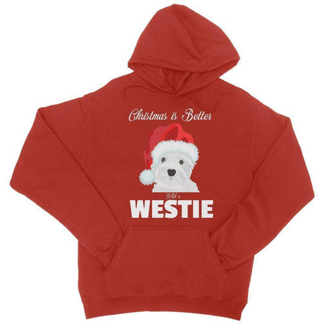 Christmas is better with a Westie College Hoodie Apparel kite.ly S Fire Red