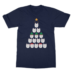 Westie Face Christmas Tree Softstyle T-shirt Apparel kite.ly S Navy