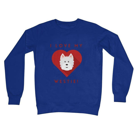 I Love My Westie Heart Crew Neck Sweatshirt Apparel kite.ly S Royal Blue