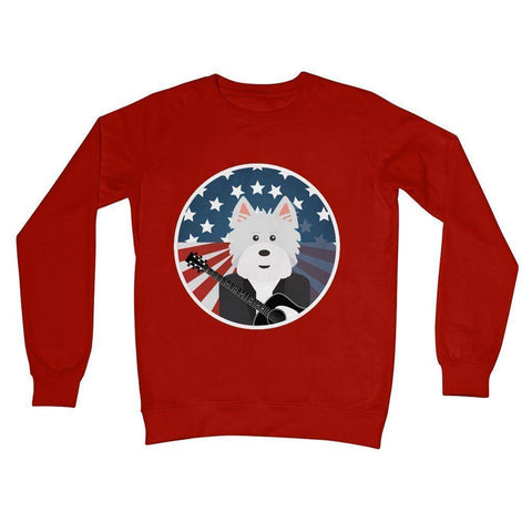 American Westie With a Guitar Crew Neck Sweatshirt Apparel kite.ly S Fire Red