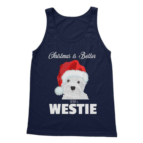 Christmas is better with a Westie Softstyle Tank Top Apparel kite.ly S Navy