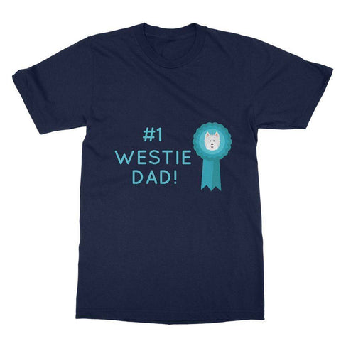 Image of Number 1 Westie Dad Softstyle T-shirt Apparel kite.ly S Navy