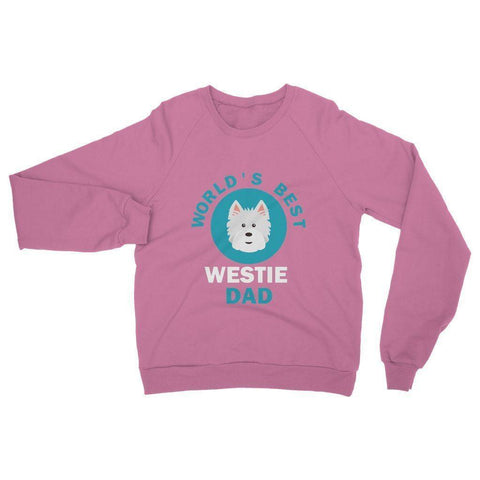 Image of World's Best Westie Dad Heavy Blend Crew Neck Sweatshirt Apparel kite.ly S Safety Pink
