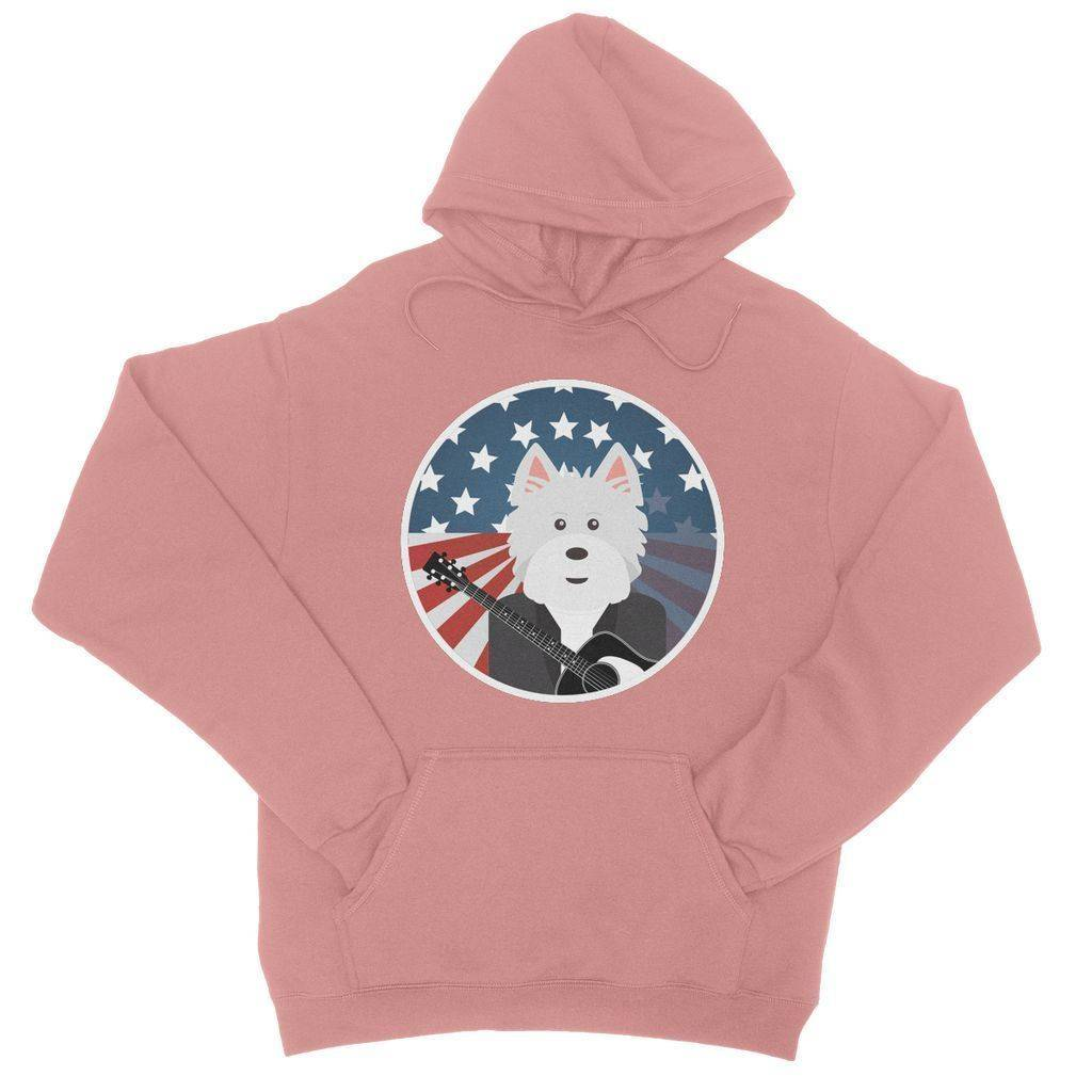 American Westie With a Guitar College Hoodie