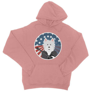 American Westie With a Guitar College Hoodie Apparel kite.ly S Dusty Pink