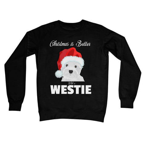 Image of Christmas is better with a Westie Crew Neck Sweatshirt Apparel kite.ly S Jet Black