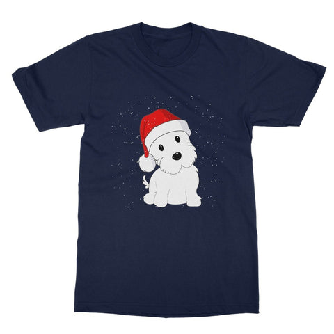 Image of Westie in a Santa hat Softstyle T-shirt Apparel kite.ly S Navy