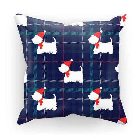 "Image of Blue Tartan Westie in a Hat and Scarf Cushion Homeware kite.ly Linen 18""x18"""