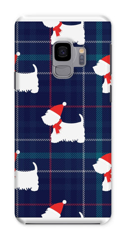 Blue Tartan Westie in a Hat and Scarf Phone Case Phone & Tablet Cases kite.ly Galaxy S9 Snap Gloss