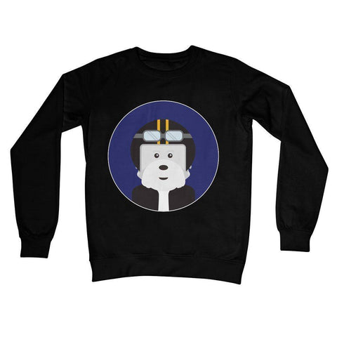 Westie Biker Crew Neck Sweatshirt Apparel kite.ly S Jet Black