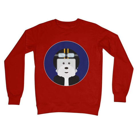 Westie Biker Crew Neck Sweatshirt Apparel kite.ly S Fire Red