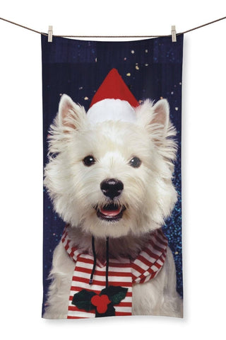 "Image of Christmas Westie Towel Homeware kite.ly 27.5""x55.0"""