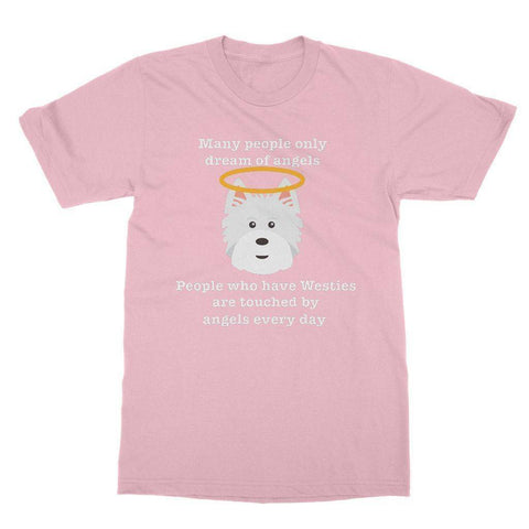 Westie Angel Softstyle T-shirt Apparel kite.ly S Light Pink