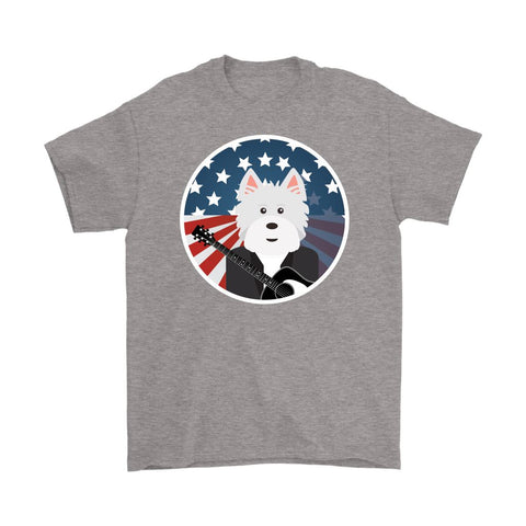 Image of American Westie With a Guitar Softstyle T-shirt T-shirt teelaunch Gildan Mens T-Shirt Sport Grey S