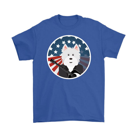 Image of American Westie With a Guitar Softstyle T-shirt T-shirt teelaunch Gildan Mens T-Shirt Royal Blue S