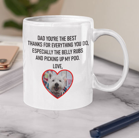Image of Dad You're The Best Personalised Funny Mug For Dog Fathers (including your Dog's Photo) Personalized Drinkware teelaunch