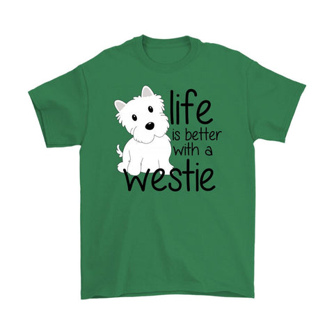 Life is Better With a Westie Softstyle T-shirt T-shirt teelaunch Gildan Mens T-Shirt Irish Green S