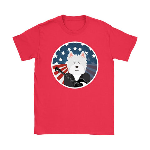 Image of American Westie With a Guitar Softstyle T-shirt T-shirt teelaunch Gildan Womens T-Shirt Red S