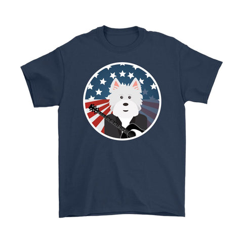 Image of American Westie With a Guitar Softstyle T-shirt T-shirt teelaunch Gildan Mens T-Shirt Navy S