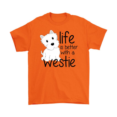 Life is Better With a Westie Softstyle T-shirt T-shirt teelaunch Gildan Mens T-Shirt Orange S