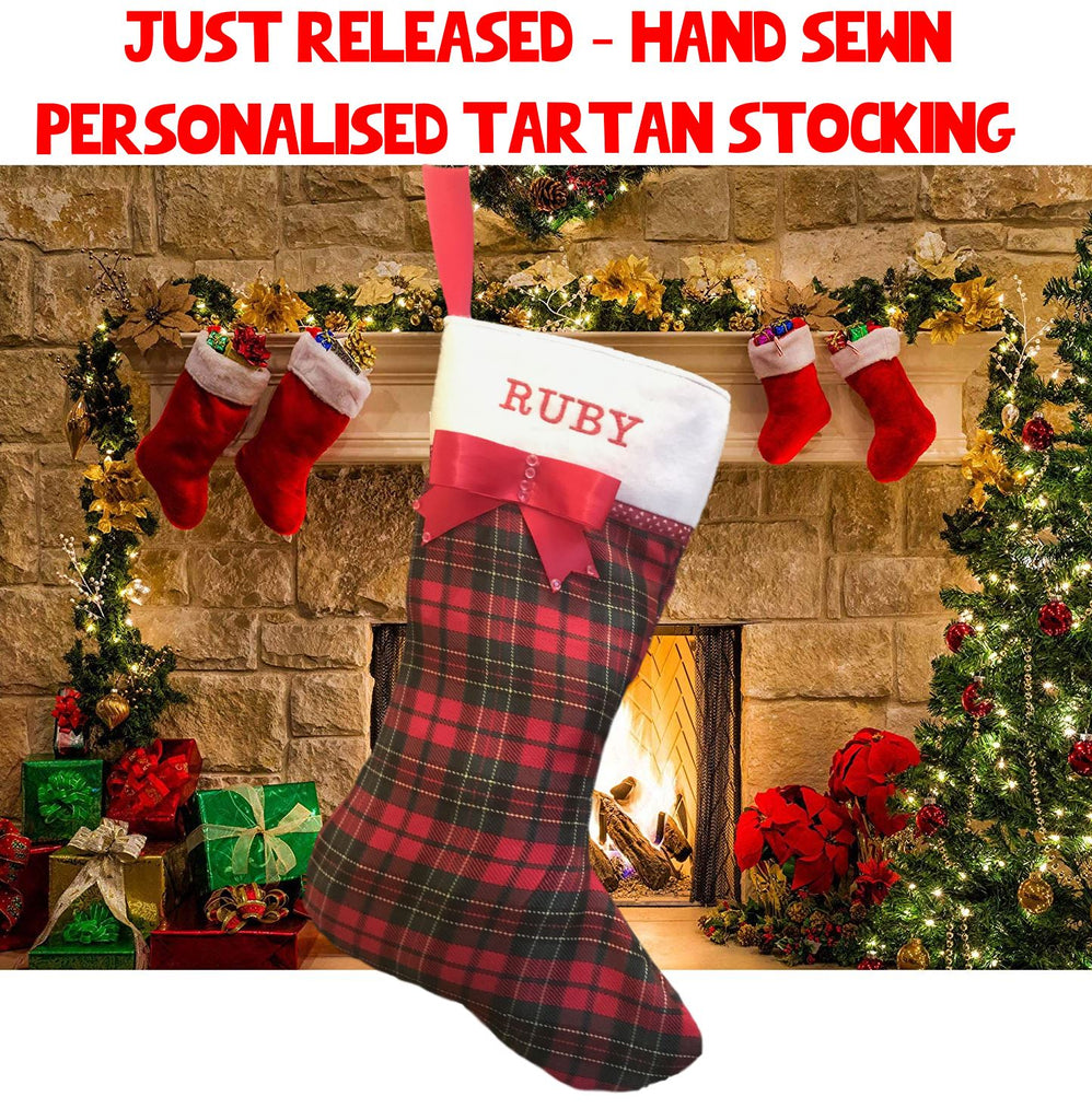 Red Tartan Christmas Stocking Personalised With Your Dog's Name UK ONLY Christmas Stockings Hand Made