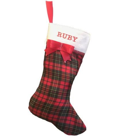 Image of Red Tartan Christmas Stocking Personalised With Your Dog's Name UK ONLY Christmas Stockings Hand Made