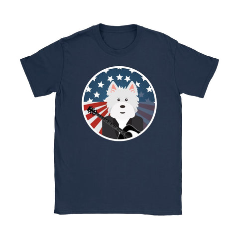 Image of American Westie With a Guitar Softstyle T-shirt T-shirt teelaunch Gildan Womens T-Shirt Navy S