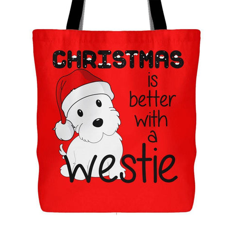 Christmas Is Better With A Westie Tote Bag Tote Bags teelaunch Red