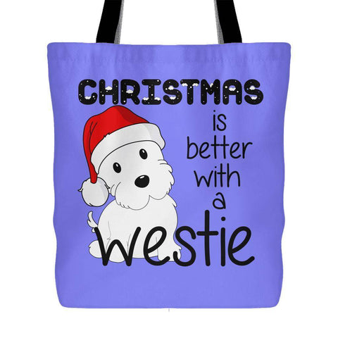 Christmas Is Better With A Westie Tote Bag Tote Bags teelaunch Blue