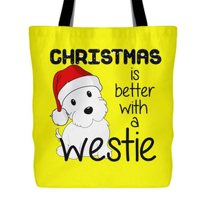 Christmas Is Better With A Westie Tote Bag Tote Bags teelaunch Yellow