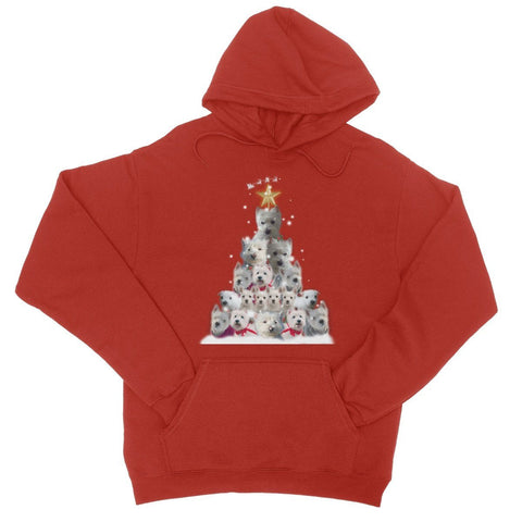 Image of Westie Christmas Tree College Hoodie Apparel kite.ly S Fire Red