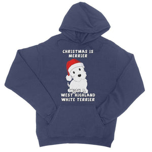 Christmas is Merrier with a West Highland White Terrier College Hoodie Apparel kite.ly S New French Navy