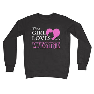 This Girl Loves Her Westie Crew Neck Sweatshirt Apparel kite.ly S Charcoal