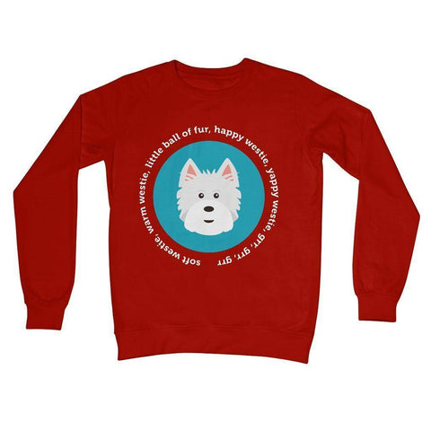 Image of Happy Westie - Big Bang Theory Crew Neck Sweatshirt Apparel kite.ly S Fire Red