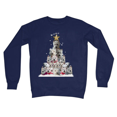 Image of Westie Christmas Tree Crew Neck Sweatshirt Apparel kite.ly S New French Navy