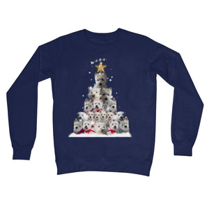 Westie Christmas Tree Crew Neck Sweatshirt Apparel kite.ly S New French Navy