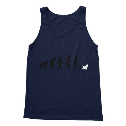 The Evolution Of Man And Westie Softstyle Tank Top Apparel kite.ly S Navy