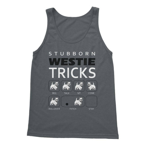 Stubborn Westie Tricks Softstyle Tank Top Apparel kite.ly S Charcoal