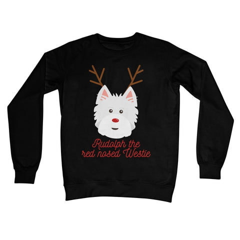 Image of Rudolph the Red nosed Westie Crew Neck Sweatshirt Apparel kite.ly S Jet Black
