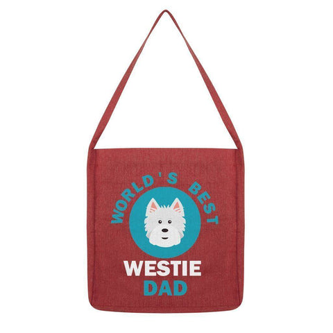 World's Best Westie Dad Tote Bag Accessories kite.ly Melange Red