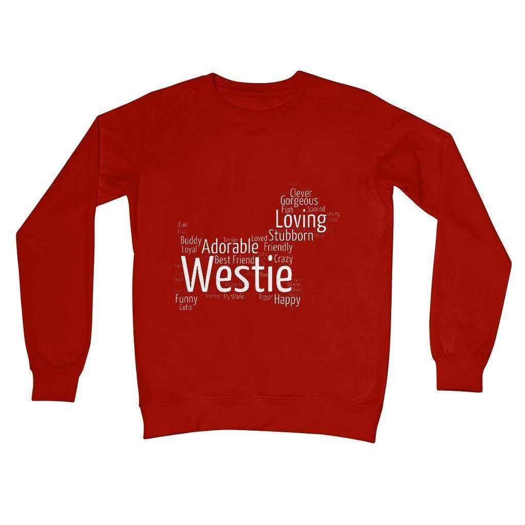 Westie Word Cloud Crew Neck Sweatshirt Apparel kite.ly S Fire Red